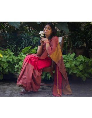 Bright Red Cotton Saree