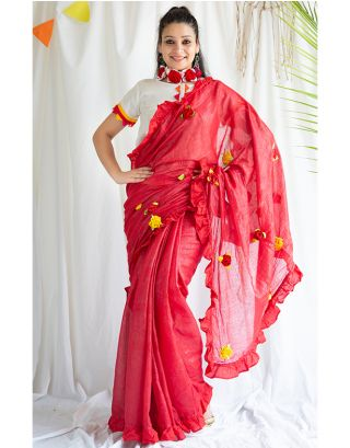 Red Frilled Shimmer Saree
