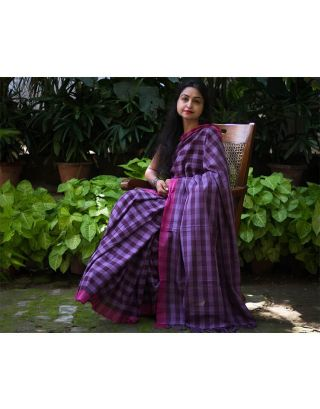 Purple checkered Cotton Saree