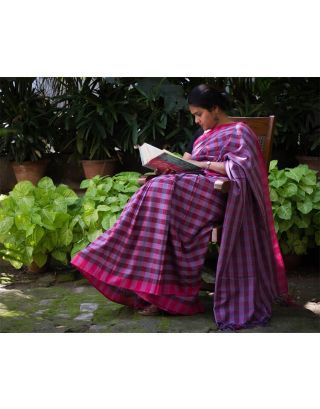 Purple and Pink Checks Cotton Saree