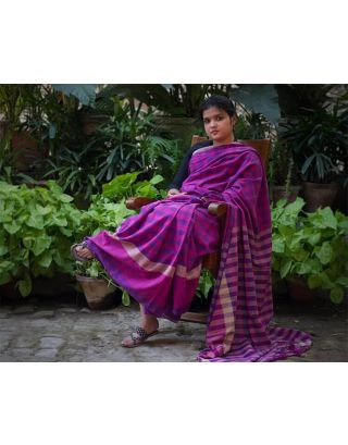 Checkerboard Pattern Cotton Saree