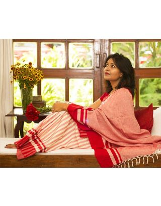 Cotton Red and White Striped Saree