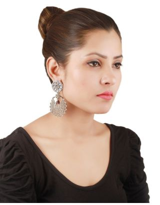 Trible Statement Silver Drop Earrings