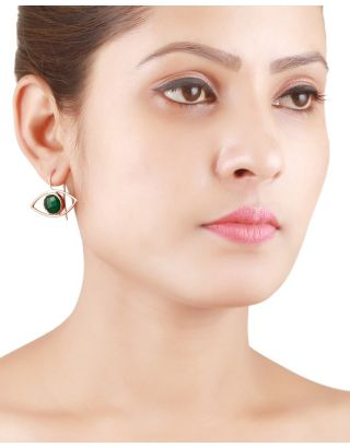 Green Onyx Rose Gold Earrings