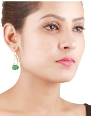 Green Onyx Golden Earrings