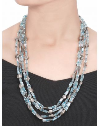 4 Layered Blue Silver Necklace