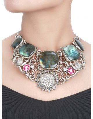 Antique Floral Silver Stone Necklace
