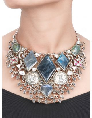 Peacock and Floral Silver Stone Necklace