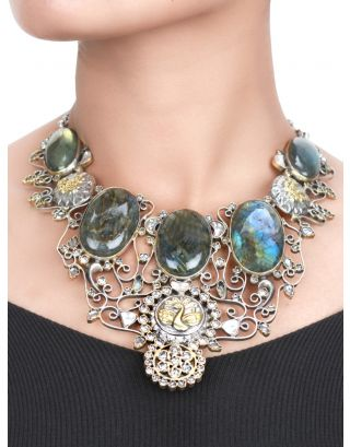 Peacock and Floral Labradorite Stone Necklace