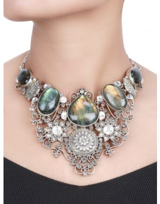 Floral Multicolor Stone Silver Necklace