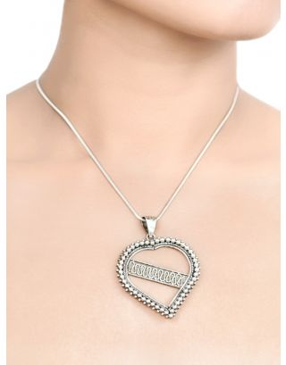 Heart Shape Statement Silver Pendant Necklace
