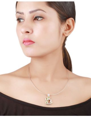 Green Gemstone Silver Statement Pendant Necklace