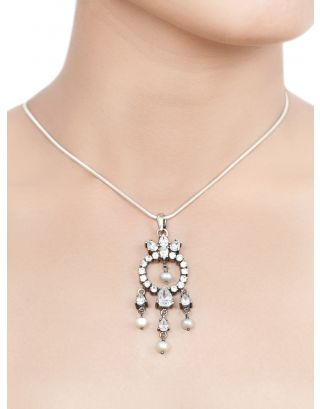 White Zircon & Beads Silver Pendant Necklace