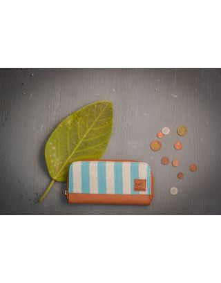 Sea Blue Candy Striped Clutch Wallet