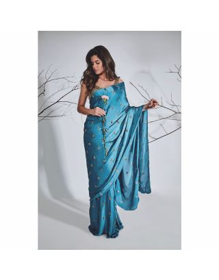 Navy Blue Zardosi Booti Saree