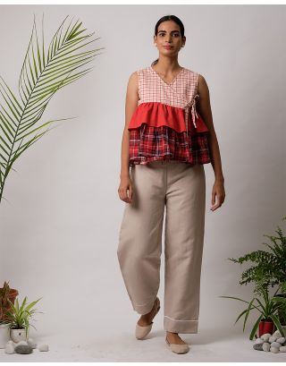 Red Checkered Angarkha Top