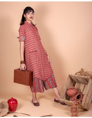 Maroon High-Low Kurta Palazzo Set