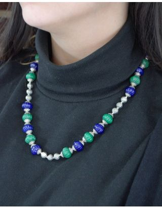 Silver Capped Blue Green Necklace