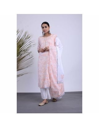 White and Pink Floral Kurta Palazzo Set with Dupatta
