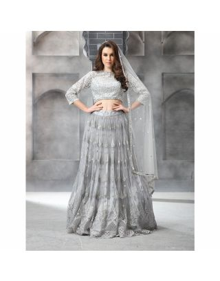 Grey Crystal Glass Beaded Lehengha Set