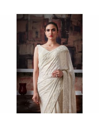 White Pearl Embroidered Saree