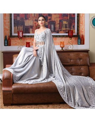 Grey Saree with Pearl and Bugle Beads Embroidered Blouse