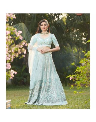 Aqua Blue Stone Embroidered Lehenga Set