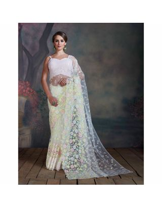 White Floral Resham Saree