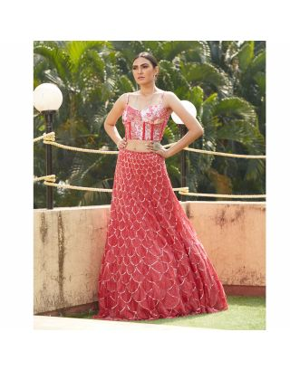 Red Sequins Bugle Beads Crop Top and Lehengha Set