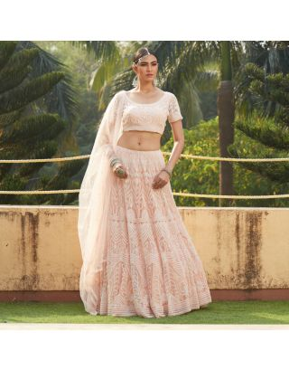 Peach Pearl Embroidered Lehengha