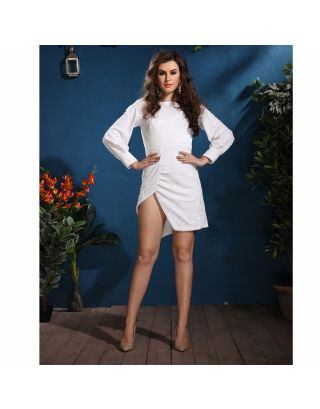 White Sequence Embossed Short Dress
