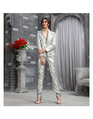 Silver Sequins Blazer Pants Set