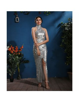 Silver Sequins Party Gown
