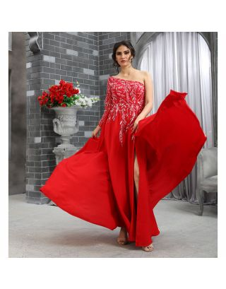 Red Off-Shoulder Sequins Work Gown
