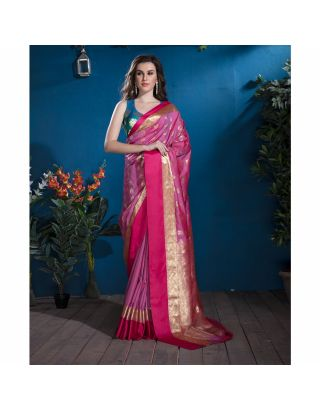 Pink Banarasi Saree with Brocade Blouse