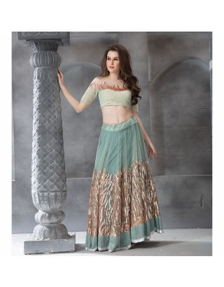 Green Embroidered Lehengha Set