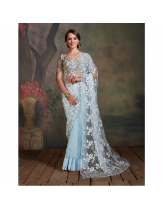 Sky Blue Floral Zari work Saree
