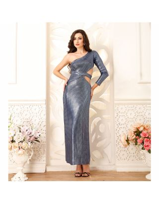 Metallic Blue Applique Gown