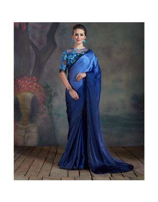 Blue Saree with Thread and Tassels Work Blouse