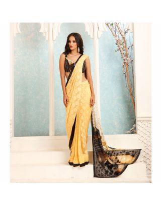 Yellow and Black Bugle Beads Embossed Saree