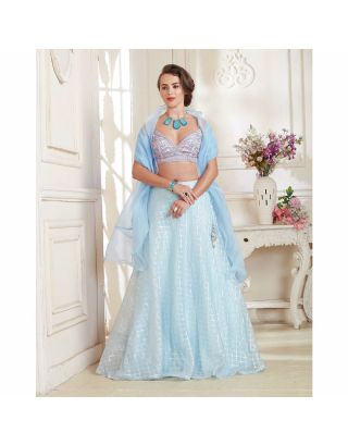 Sky Blue Bugle Beads Lehenga Set