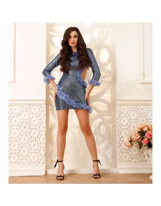 Metallic Blue Applique Frill Short Dress