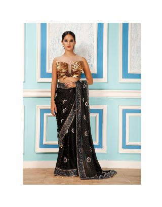 Black Sequins Saree with Nakshi Work