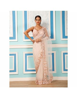 Blush Pink Sequins Saree with Embroidered Blouse