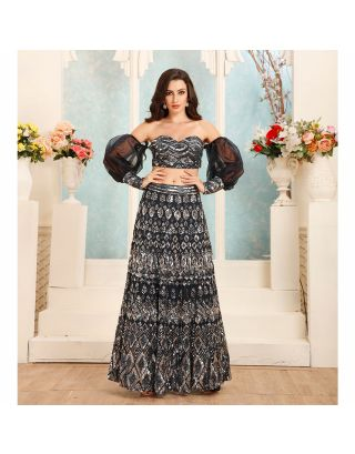 Blue Cold Shoulder Top and Lehenga