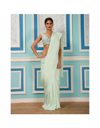 Mint Green Saree with Embossed Stone Tikki