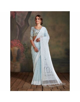 Sky Blue Chikankari Saree