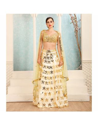 Yellow Sequins and Beads Embossed Lehenga Set