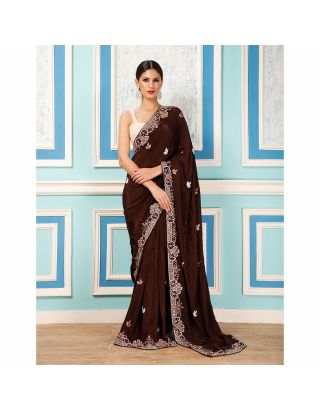 Brown Sequins Saree with Bugle Beads