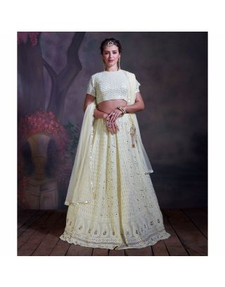 Lemon Yellow Chikankari Lehenga Set